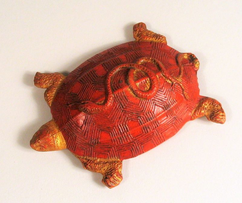 Antique Chinese Red Ink Cake, Turtle Form