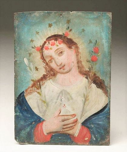 Antique Mexican Painted Tin Retablo - El Alma de Maria
