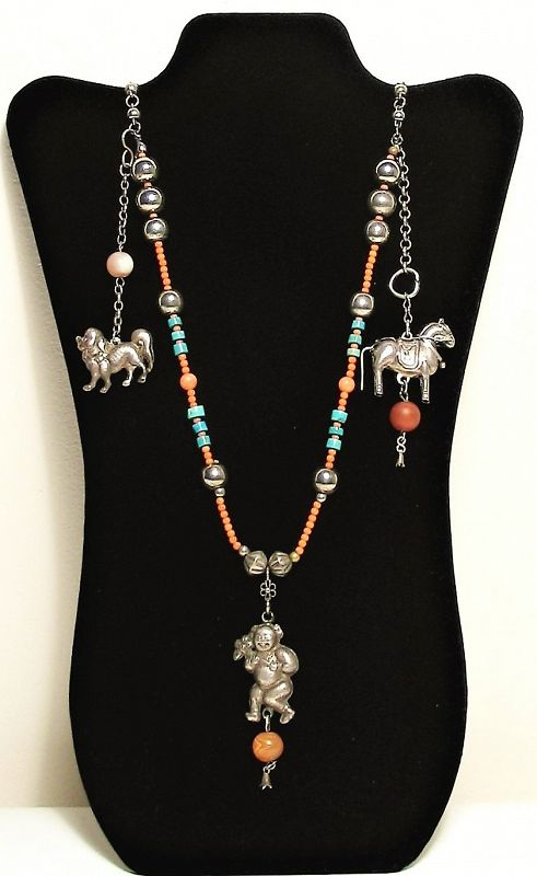 Antique Chinese Silver, Coral and Turquoise Necklace