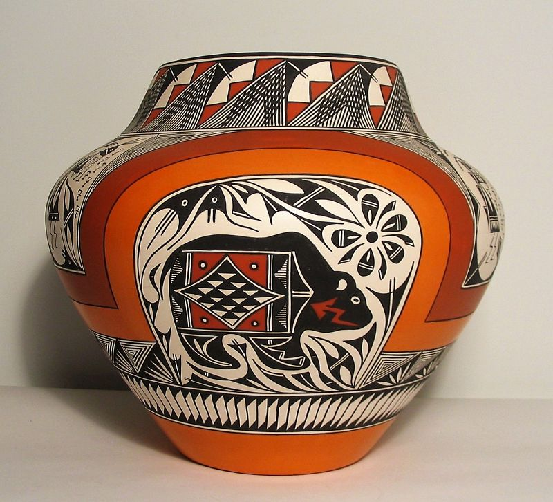 Large Acoma Pottery Jar, Signed R.T.P.