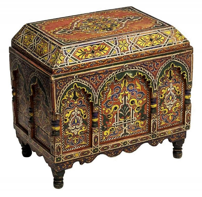 Antique Arabesque Polychrome Lidded Box / Chest, 19th C.