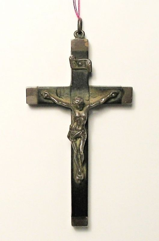 Antique French Sterling and Ebony Crucifix, Saint Katharine Drexel