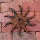 "11.5"" Antique Cast Iron Garden Tiller Wheel, Industrial/Garden Art"