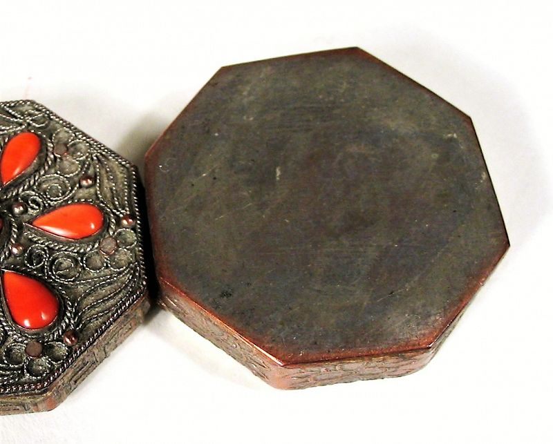 Small Chinese Export Silver Filigree Box with Coral