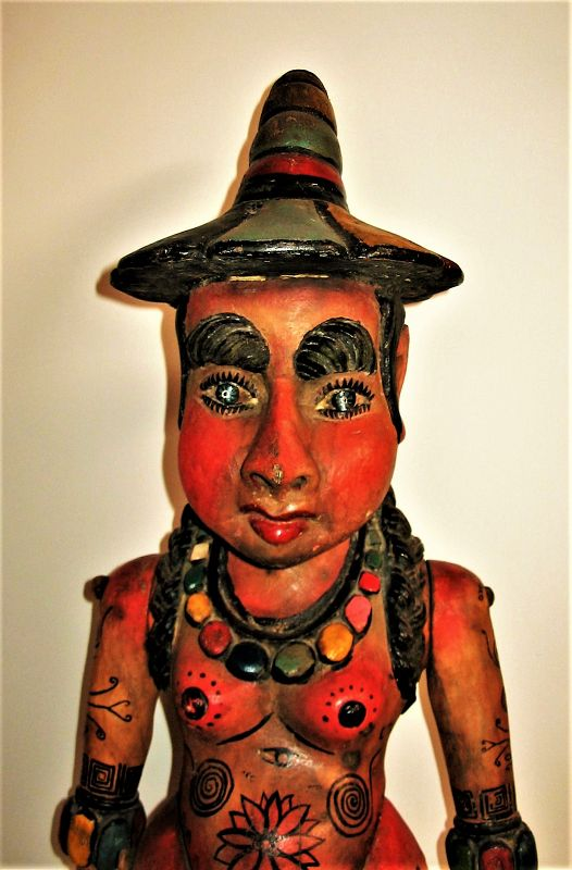 Rare Vintage Mexican Carved Wood Processional Figure