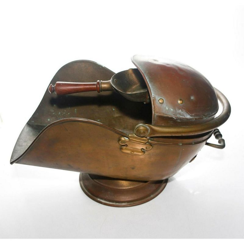 Victorian Copper Coal Scuttle Bucket and Shovel Scoop