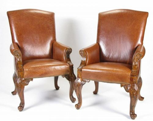 Pair of Leather High-Back Arm Chairs