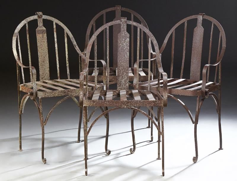 Set of Four Wrought Iron Patio Armchairs, 20th C.