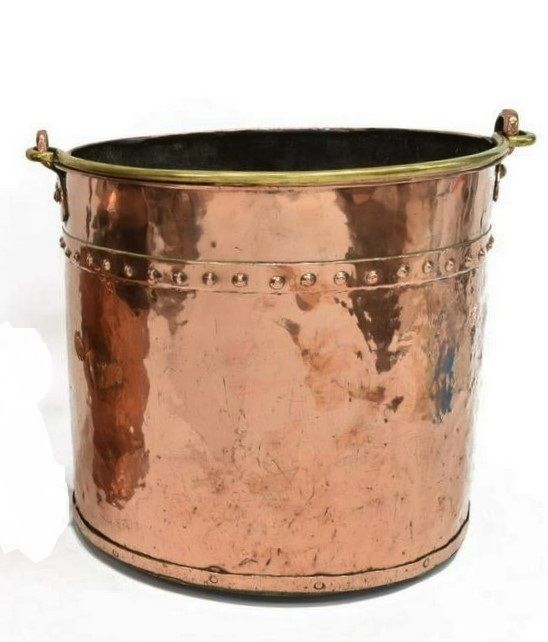 Large Antique English Copper and Brass Bucket