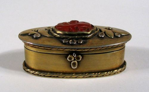 Small Antique Chinese Brass Box with Carved Carnelian