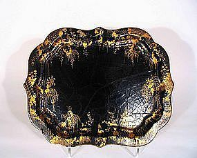 Antique English Chinoiserie Lacquer Tray, 19th C.