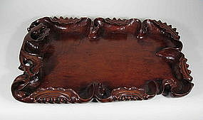 Fine Carved Longyan Wood Tray
