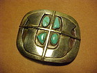 "CARMELLO ""PAT"" PATANIA  STERLING TURQUOISE BELT BUCKLE"