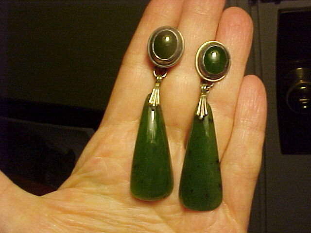 VINTAGE LONG STERLING JADE EARRINGS