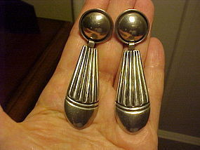 NAVAJO ALLEN KEE WHITE HOGAN LONG STERLING EARRINGS