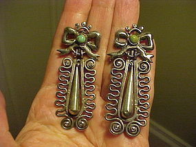 "EARLY MATILDE POULAT ""MATL"" SILVER TURQUOISE EARRINGS"