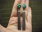 NAVAJO JOHNNY MIKE BEGAY STERLING TURQUOISE EARRINGS