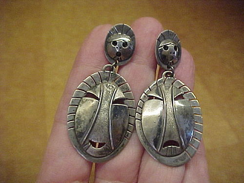 VINTAGE ALEUT DENISE WALLACE STERLING MASK EARRINGS