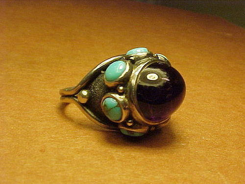 MODERNIST H. FRED SKAGGS STERLING AMETHYST TURQUOISE RING