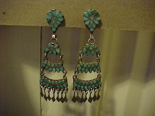 OLD ZUNI DISHTA OR DISHTA STYLE TURQUOISE INLAY EARRINGS