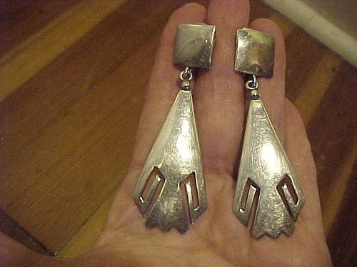 HOPI LEWIS LOMAY LONG STERLING EARRINGS