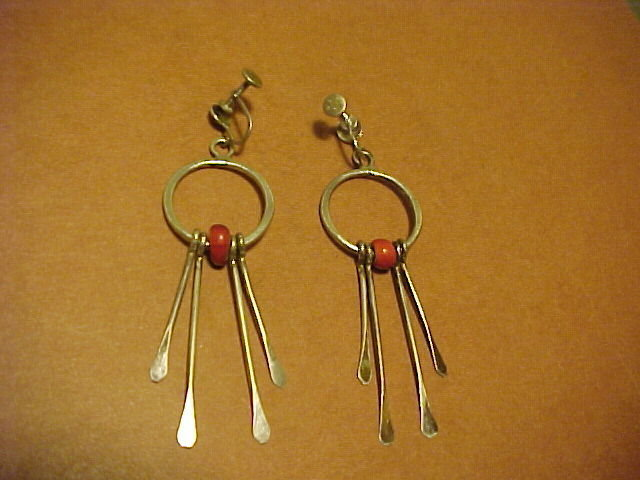 MODERNIST STERLING STUDIO EARRINGS WITH CORAL BEAD