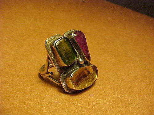 MODERNIST H. FRED SKAGGS STERLING TOURMALINE CITRINE RING