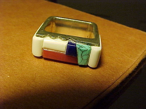 RICHARD CHAVEZ SAN FELIPE PUEBLO STERLING STONE RING