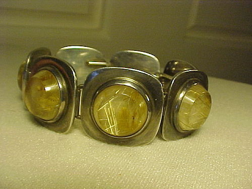 SUPERB BENT KNUDSEN STERLING RUTILATED QUARTZ BRACELET