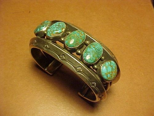NAVAJO MARK CHEE STERLING LONE MOUNTAIN TURQUOISE CUFF