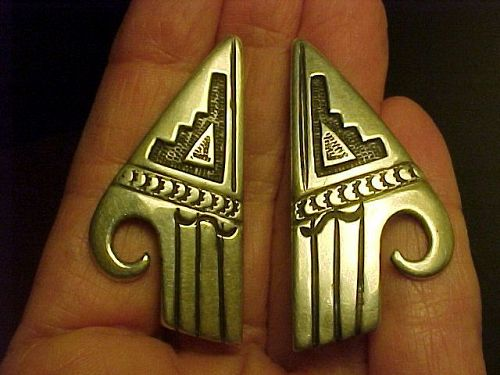 HOPI MORRIS ROBINSON SILVER OVERLAY EARRINGS