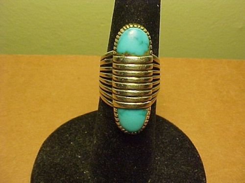 NAVAJO JOHNNY MIKE BEGAY STERLING TURQUOISE RING