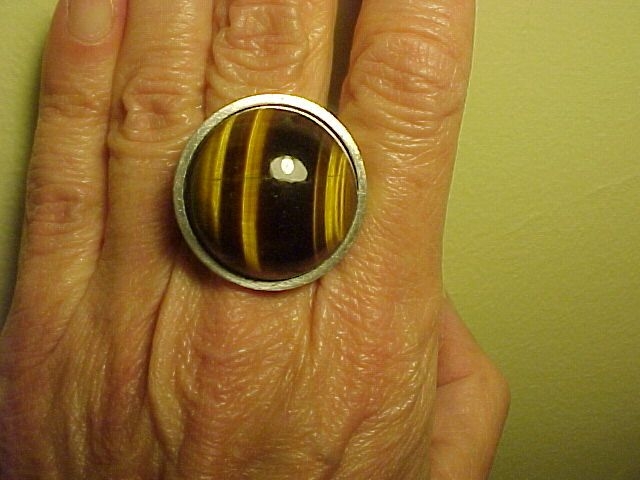 VINTAGE SIGNED STEINMARKT STERLING TIGER EYE RING