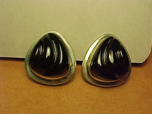 VINTAGE BURLE MARX STERLING ONYX EARRINGS