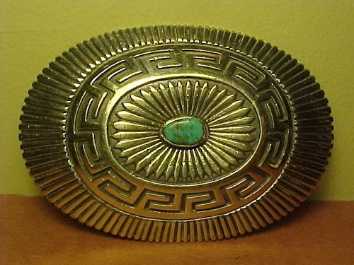 NAVAJO JOHNNY MIKE BEGAY STERLING TURQUOISE BELT BUCKLE
