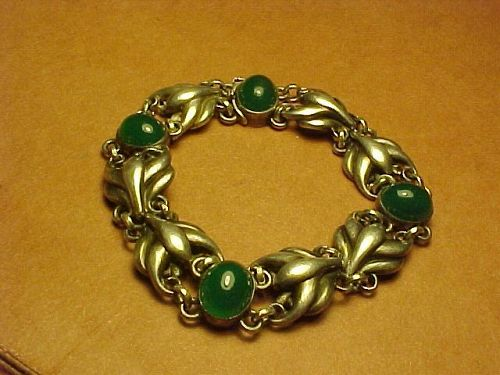 EARLY GEORG JENSEN DENMARK BRACELET NO. 53 WITH CHRYSOPRASE