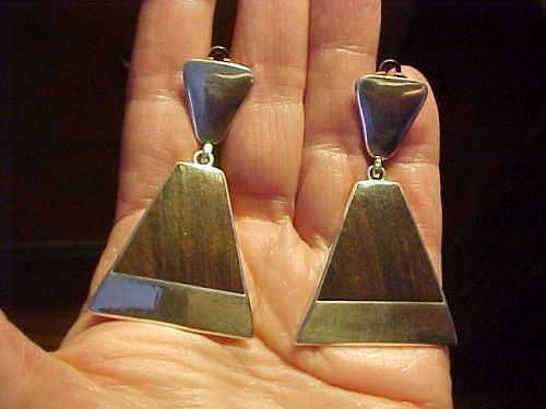WHITE HOGAN NAVAJO GEORGE KEE LARGE STERLING IRONWOOD EARRINGS