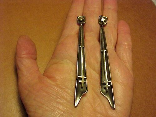 VINTAGE SIGI PINEDA LONG DANGLING MODERNIST STERLING EARRINGS