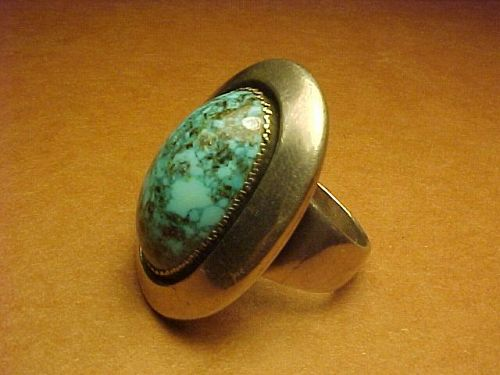 VINTAGE FRANK PATANIA JR. STERLING TURQUOISE RING
