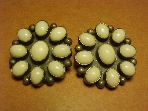 "VINTAGE CARMELLO ""PAT"" PATANIA STERLING WHITE CORAL EARRINGS"