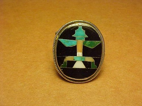 ZUNI JOHN GORDON LEAK MOSAIC INLAY KNIFEWING RING