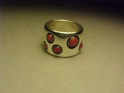 VINTAGE FRANK PATANIA JR. STERLING CORAL RING