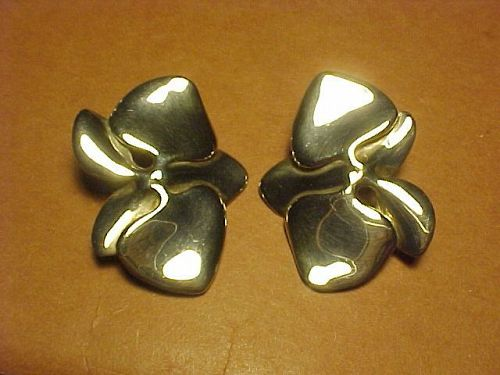 VINTAGE ANGELA CUMMINGS LARGE STERLING ORCHID EARRINGS