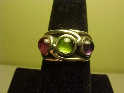 VINTAGE MODERNIST H. FRED SKAGGS STERLING MULTI STONE RING