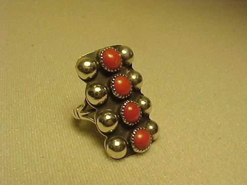 "VINTAGE CARMELO PATANIA ""PAT"" STERLING CORAL RING"