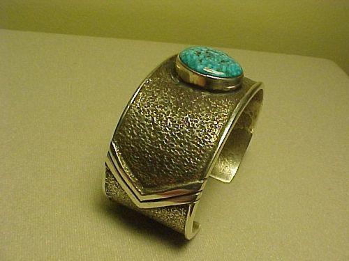 NAVAJO EDISON CUMMINGS STERLING AND TURQUOISE TUFA CAST BRACELET