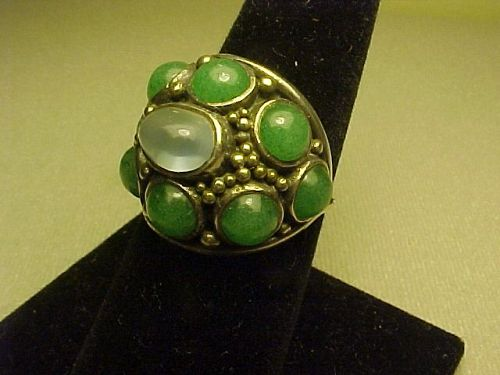 VINTAGE MODERNIST H. FRED SKAGGS STERLING MOONSTONE AVENTURINE RING