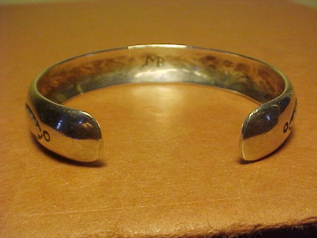 VINTAGE NAVAJO JOHNNY MIKE BEGAY STERLING CUFF WITH STAMPING