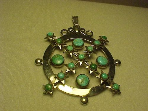 VINTAGE FRANK PATANIA SR. STERLING TURQUOISE PENDANT