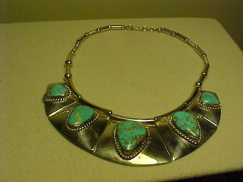 VINTAGE FRANK PATANIA SR. THUNDERBIRD SHOP STERLING TURQUOISE NECKLACE